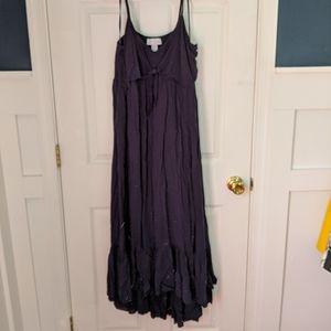 Navy high low maternity dress